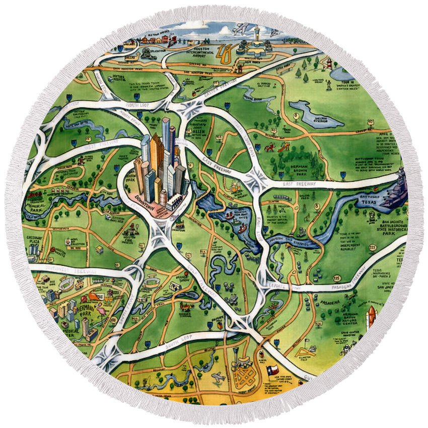 Houston Round Beach Towel featuring the painting Houston Texas Cartoon Map by Kevin Middleton