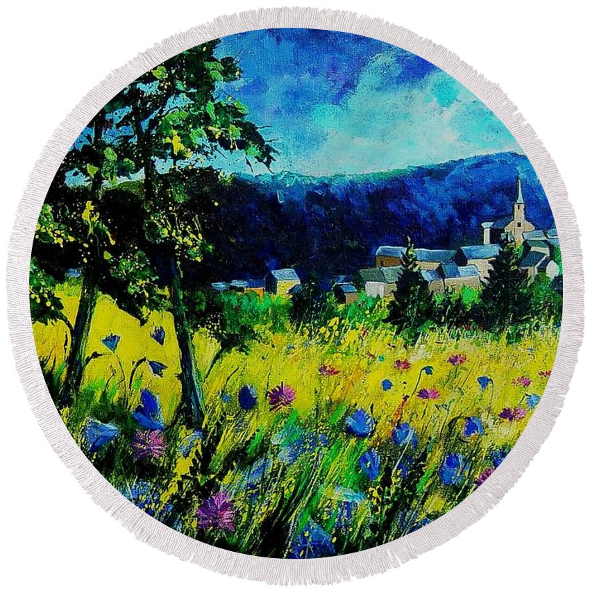 Flowers Round Beach Towel featuring the painting Houyet 68 by Pol Ledent
