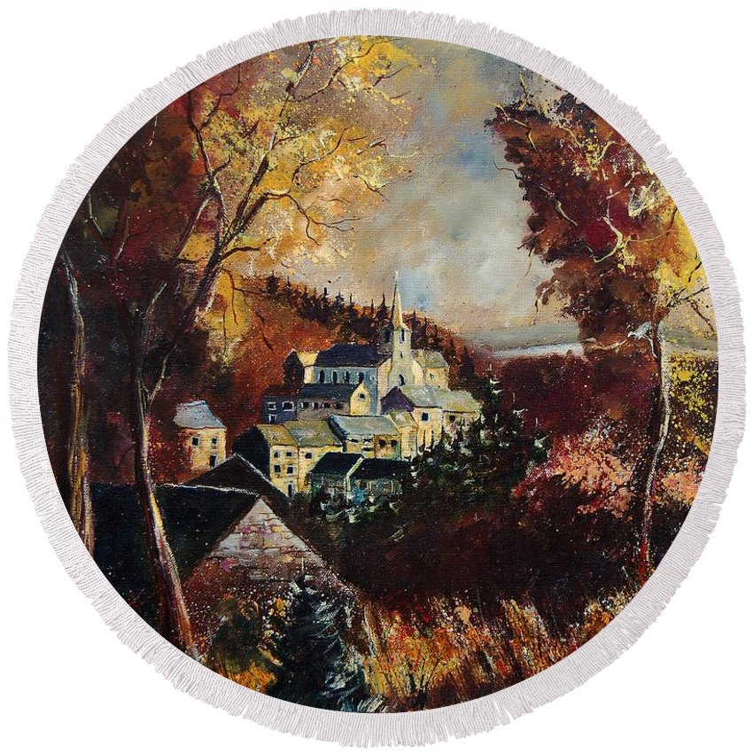 Tree Round Beach Towel featuring the painting Houyet Village Belgium by Pol Ledent
