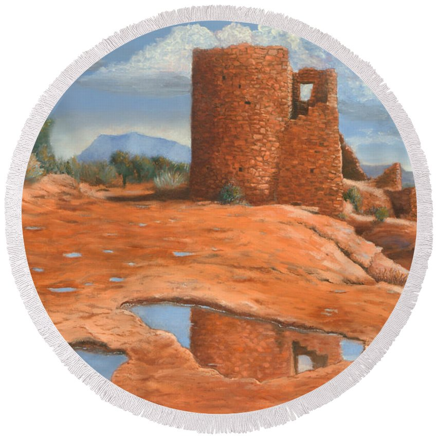 Anasazi Round Beach Towel featuring the painting Hovenweep Reflection by Jerry McElroy