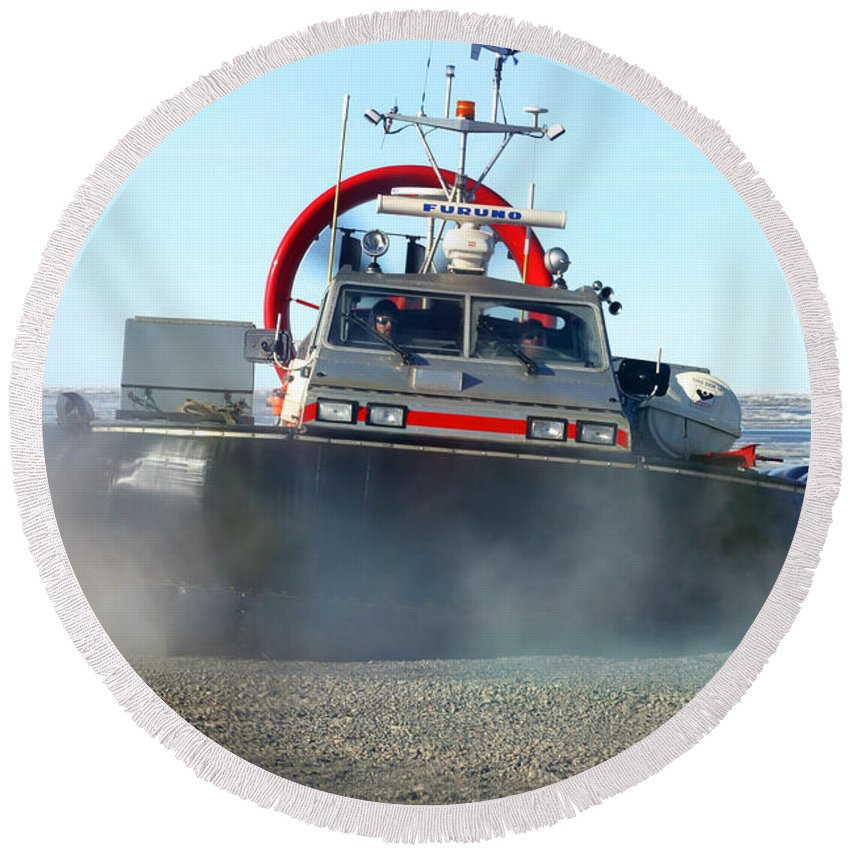 Hover Craft Round Beach Towel featuring the photograph Hover Craft by Anthony Jones