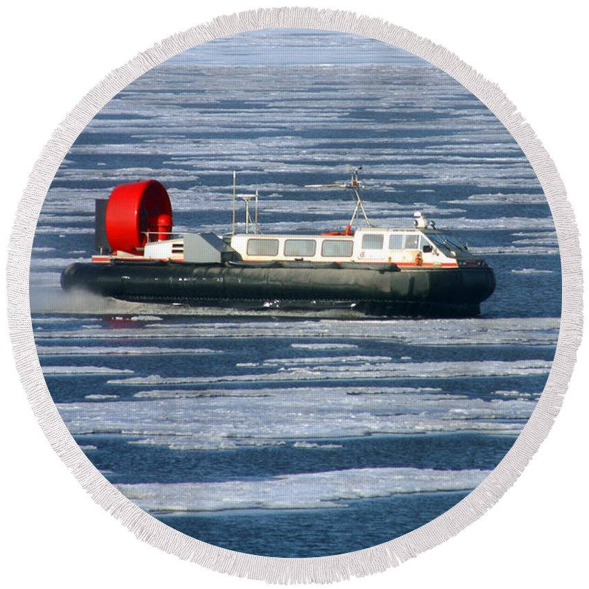 Arctic Ocean Round Beach Towel featuring the photograph Hovercraft On Frozen Artic Ocean by Anthony Jones