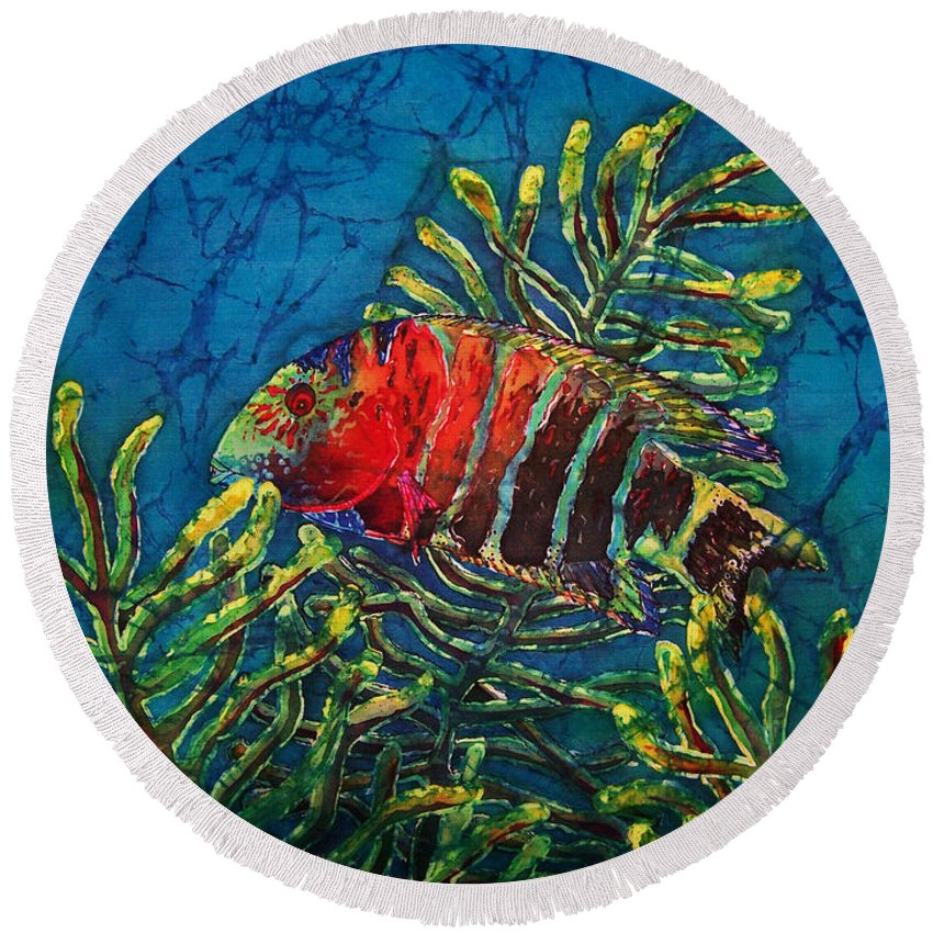Fish Round Beach Towel featuring the painting Hovering - Red Banded Wrasse by Sue Duda