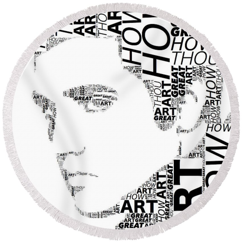 Alicegipsonphotographs Round Beach Towel featuring the digital art How Great Thou Art Elvis Wordart by Alice Gipson