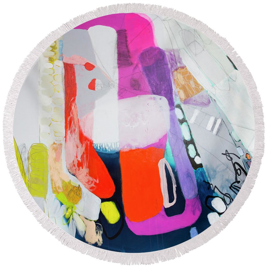 Abstract Round Beach Towel featuring the painting How Many Fingers? by Claire Desjardins