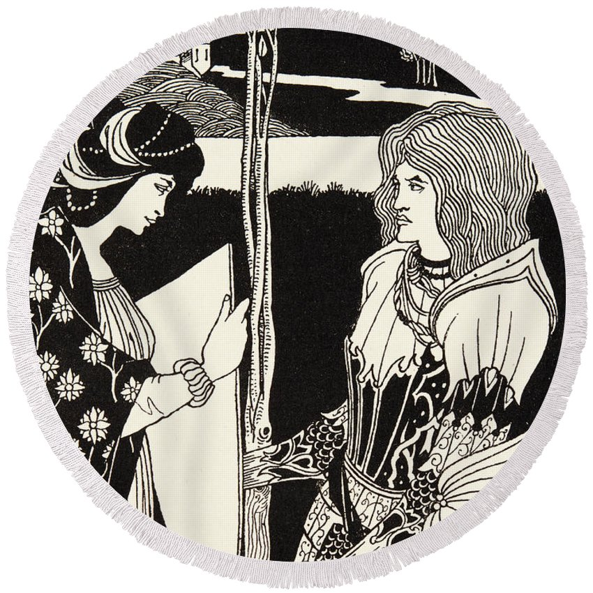 King Arthur Round Beach Towel featuring the drawing How Morgan Le Fay Gave A Shield To Sir Tristran by Aubrey Beardsley