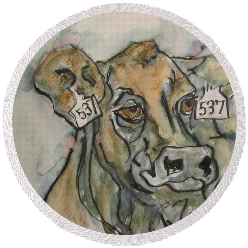 Cow Round Beach Towel featuring the painting How Now by Barbara O'Toole