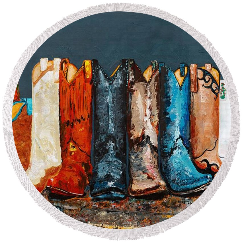 Cowboy Boots Round Beach Towel featuring the painting How The West Was Really Won by Frances Marino