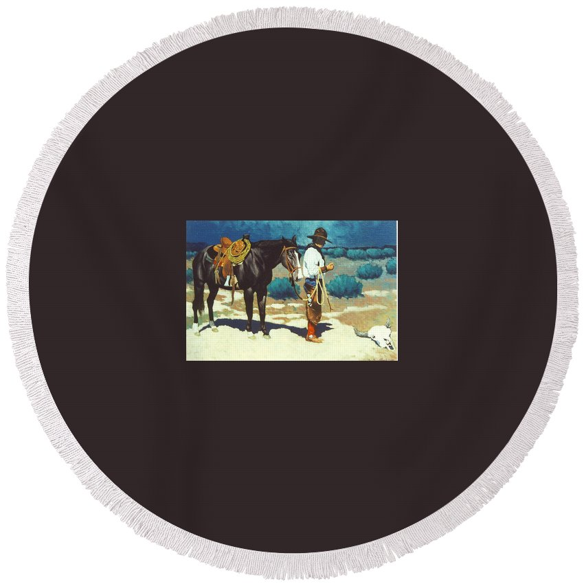 Western Round Beach Towel featuring the painting Howdy Ole Friend by Jim Bob Swafford