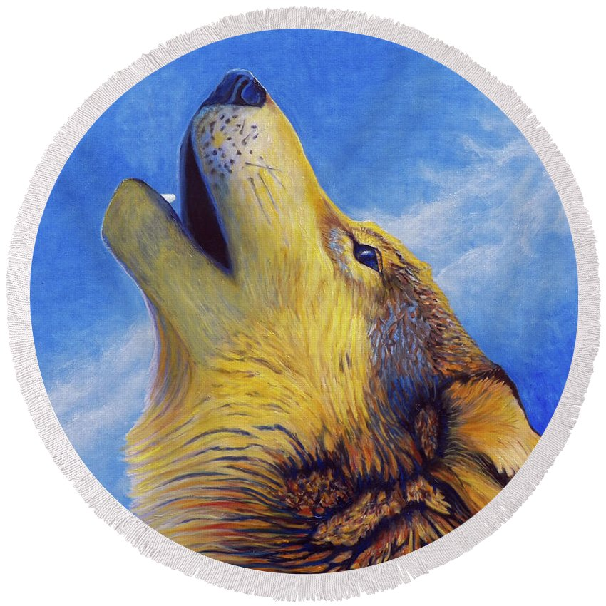 Wolf Round Beach Towel featuring the painting Howl by Brian Commerford