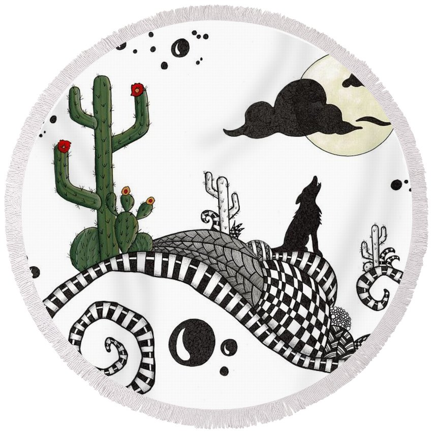 Coyote Round Beach Towel featuring the drawing An Evening In The Desert by Cathy Nestroyl