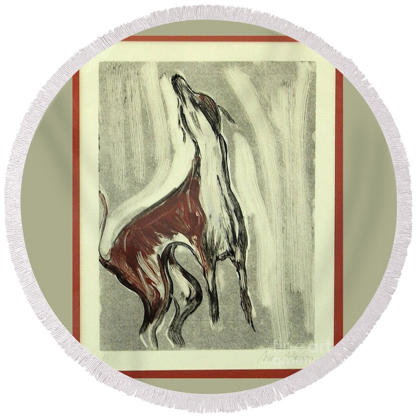 Monotype Round Beach Towel featuring the mixed media Howling For Joy by Cori Solomon