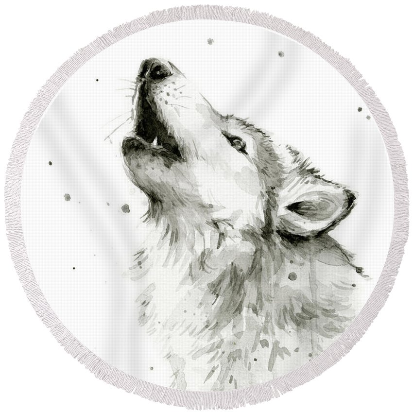 Watercolor Round Beach Towel featuring the painting Howling Wolf Watercolor by Olga Shvartsur