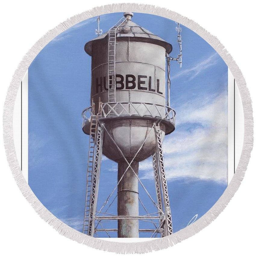 Hubbell Round Beach Towel featuring the painting Hubbell Water Tower Poster by Cindy D Chinn