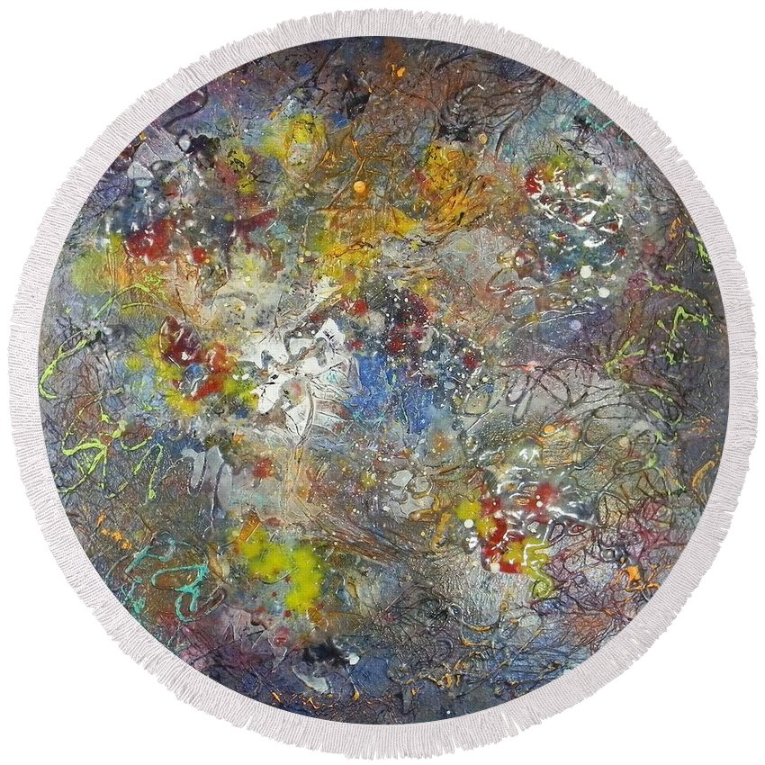 Fine Round Beach Towel featuring the painting Hubble Vision by Jim Borton