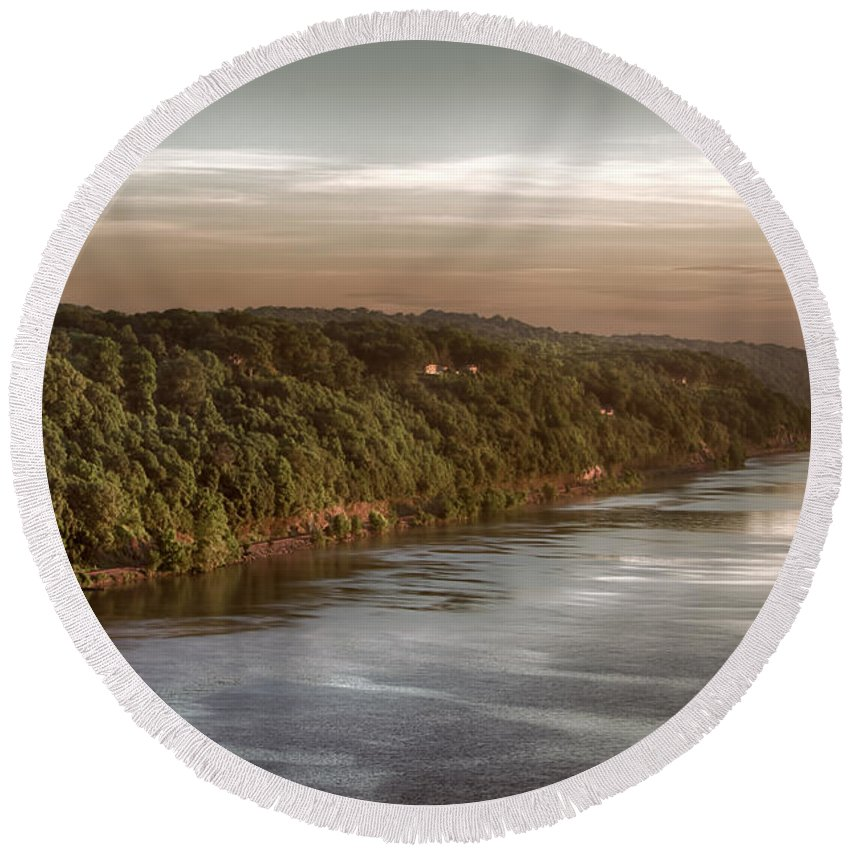 Hudson River Round Beach Towel featuring the photograph Hudson River Morning by Eleanor Bortnick