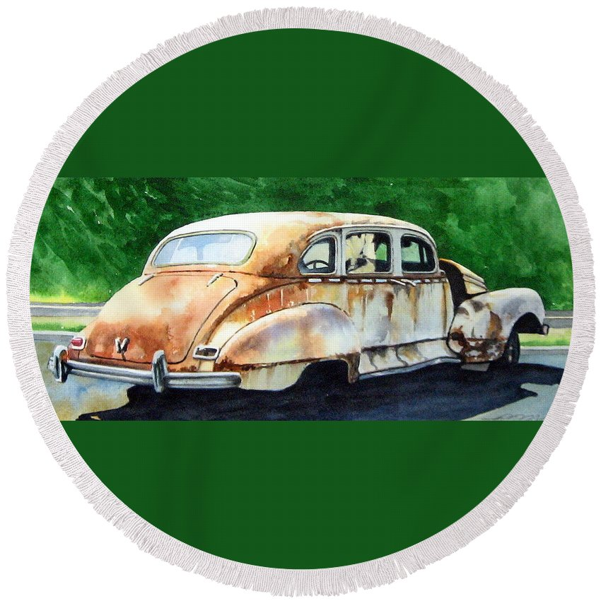Hudson Car Rust Restore Round Beach Towel featuring the painting Hudson Waiting For A New Start by Ron Morrison