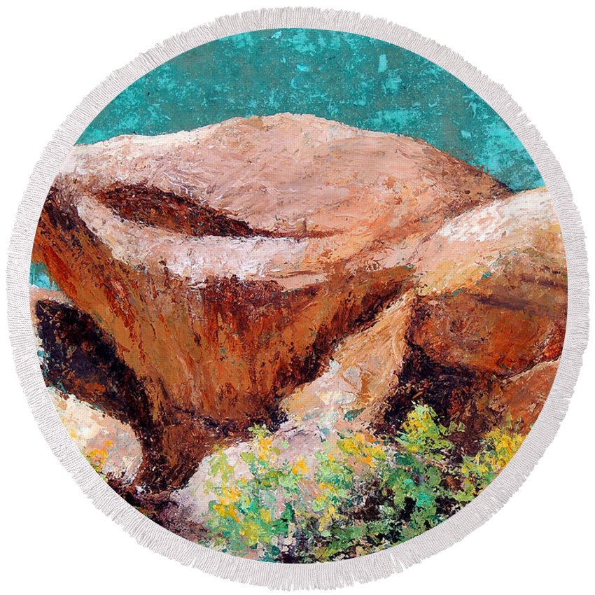 Hueco Tanks El Paso Tx Round Beach Towel featuring the painting Hueco Tanks Rocks by Candy Mayer