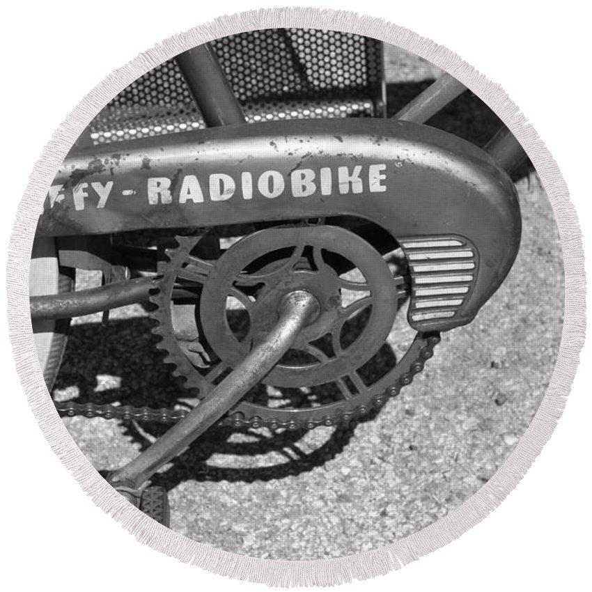 Huffy Round Beach Towel featuring the photograph Huffy Radio Bike by Lauri Novak