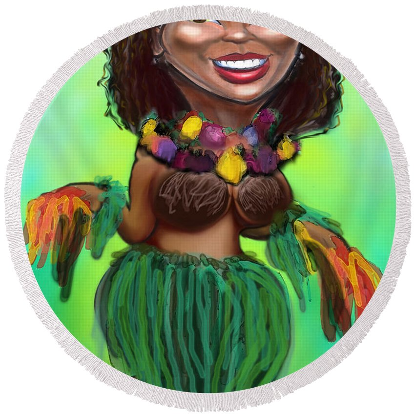 Luau Round Beach Towel featuring the digital art Hula Dancer by Kevin Middleton