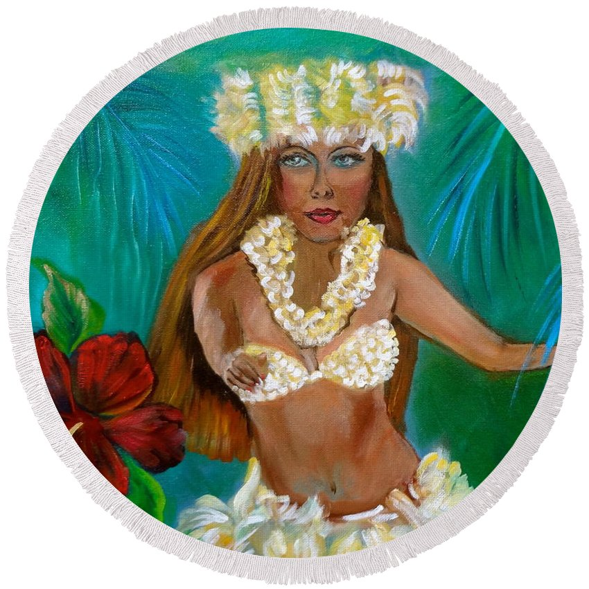 Hula Girl Round Beach Towel featuring the painting Hula II Jenny Lee Discount by Jenny Lee