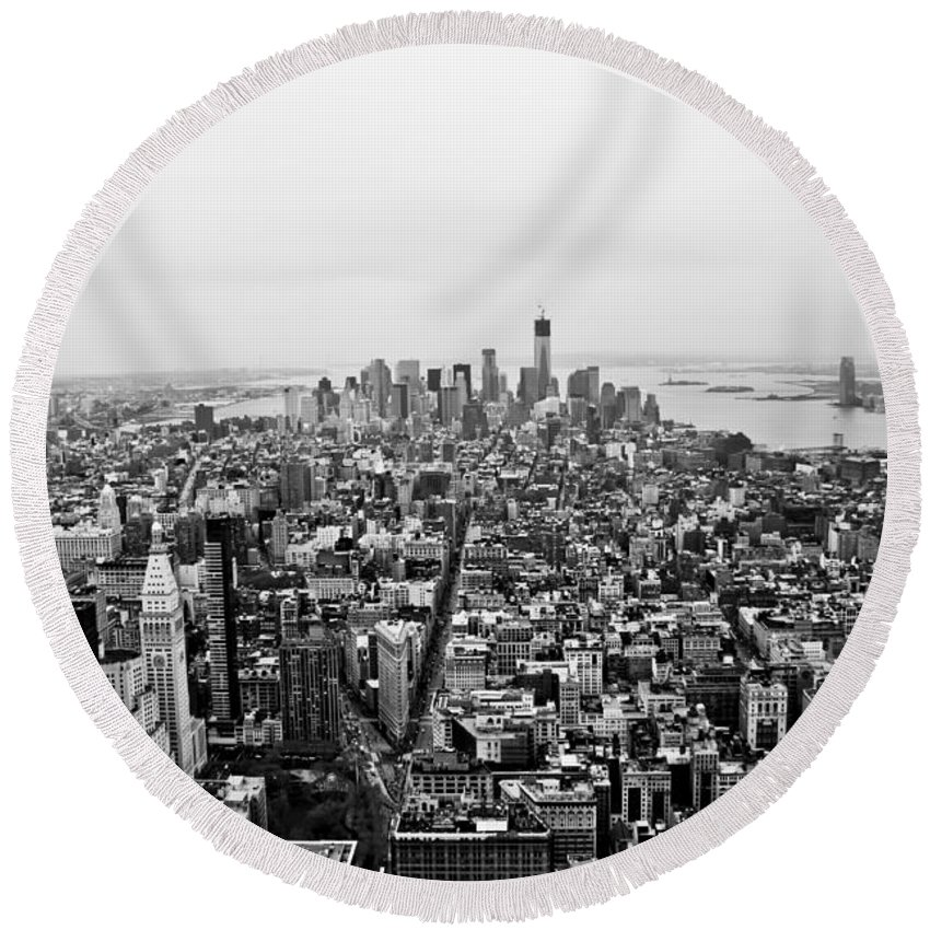 Urban Landscape Round Beach Towel featuring the photograph Human Ant Hill by Elena Perelman