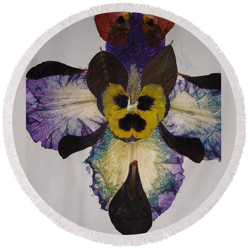 Flower-vision Round Beach Towel featuring the mixed media Human Insect by Basant Soni