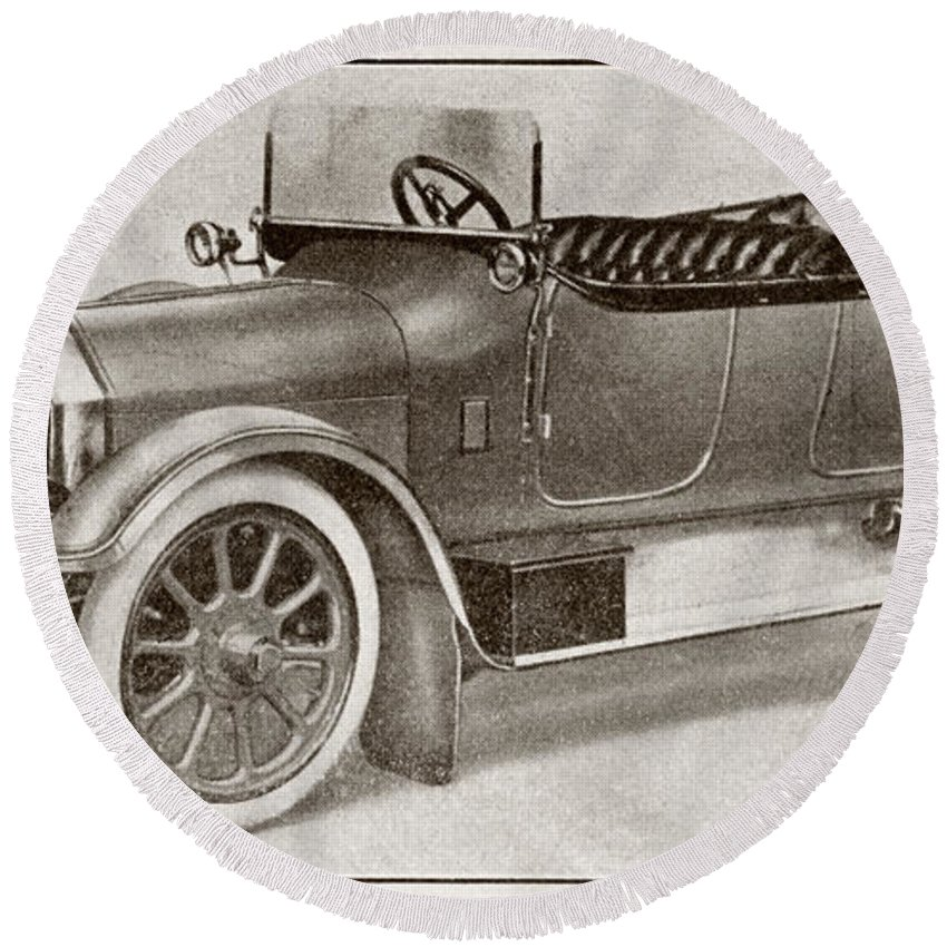 Auto Round Beach Towel featuring the drawing Humber 14 Hp Model Of 1914. From La by Vintage Design Pics