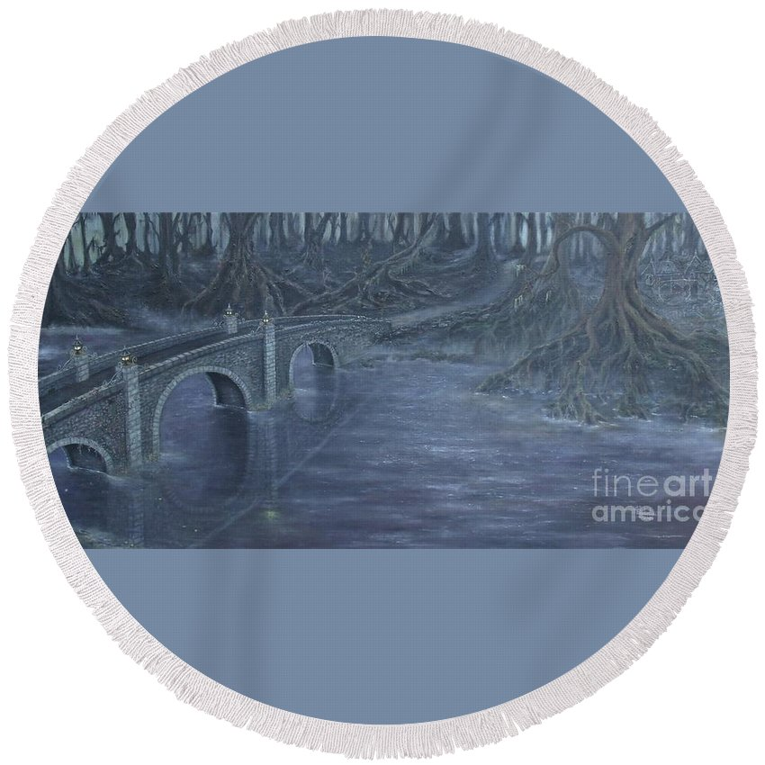 Tree Roots Round Beach Towel featuring the painting Humble Creek by Shauna Eggleston