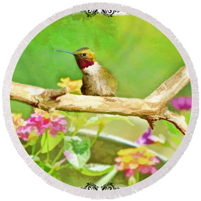 Nature Round Beach Towel featuring the photograph Humminbird Attitude - Digital Paint 3 by Debbie Portwood