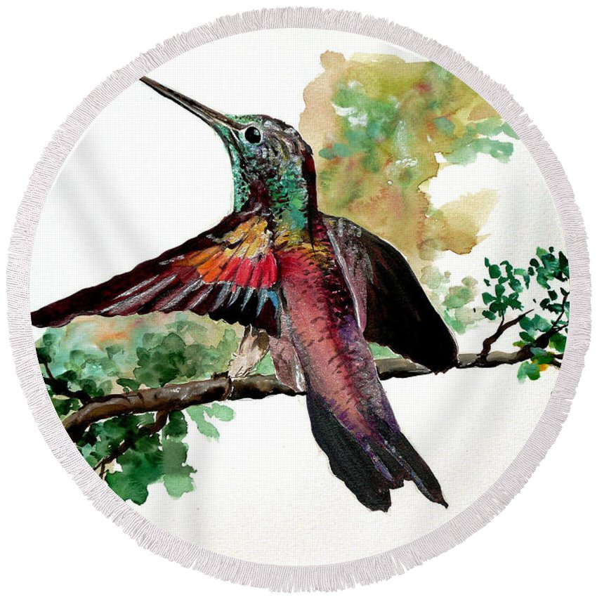 Humming Bird Painting Bird Painting  Tropical Painting Caribbean Painting Greeting Painting Round Beach Towel featuring the painting Hummingbird 5 by Karin Dawn Kelshall- Best