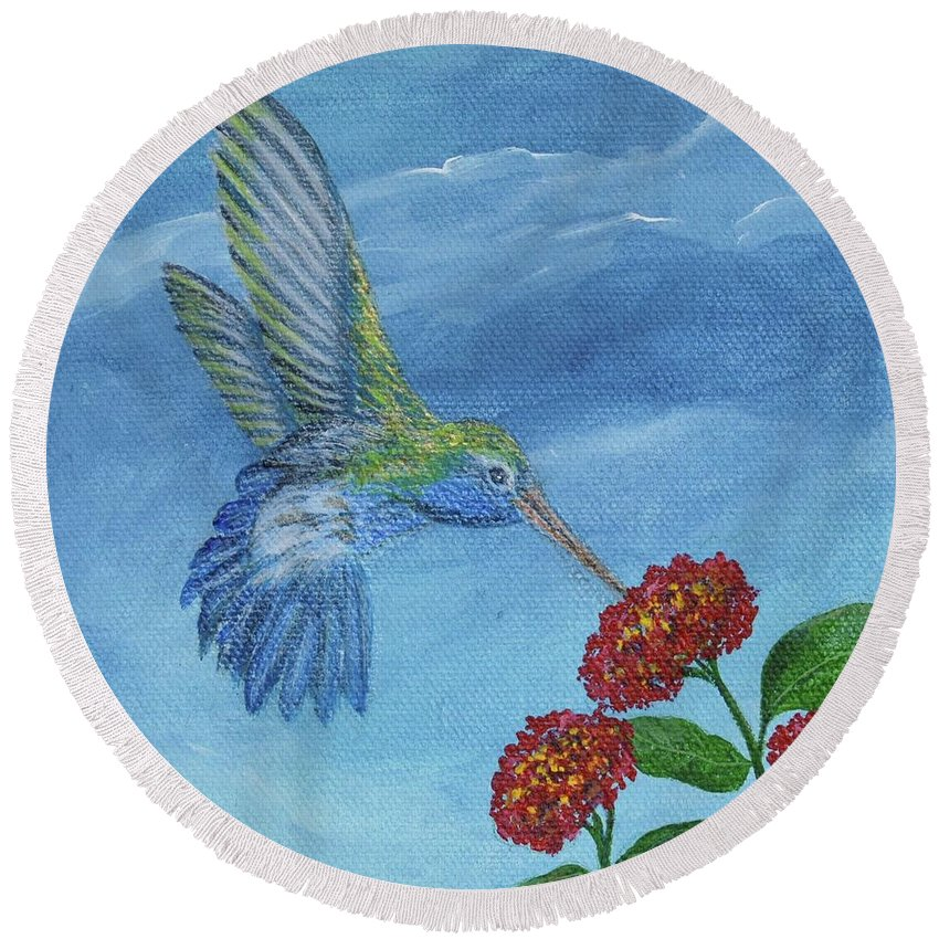 Hummingbird Round Beach Towel featuring the painting Hummingbird by Alice Blue
