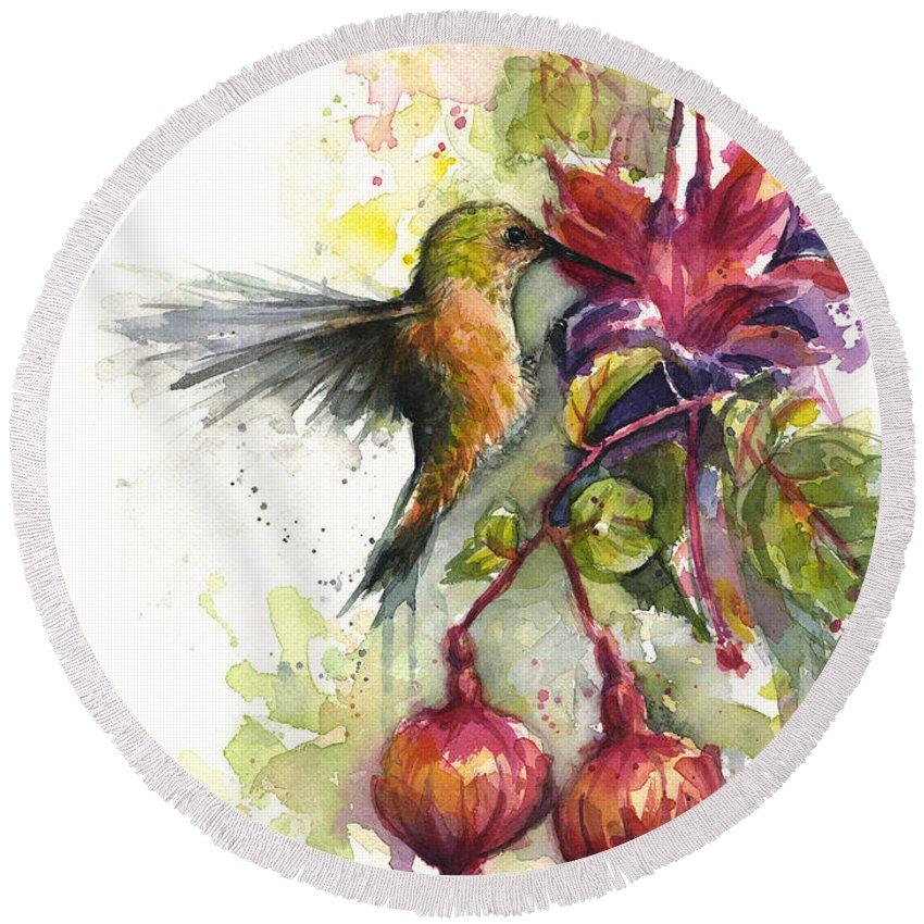 Hummingbird Round Beach Towel featuring the painting Hummingbird and Fuchsia by Olga Shvartsur