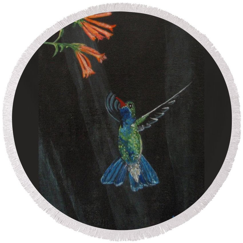 Hummjingbird Round Beach Towel featuring the painting Hummingbird by Jamie Frier