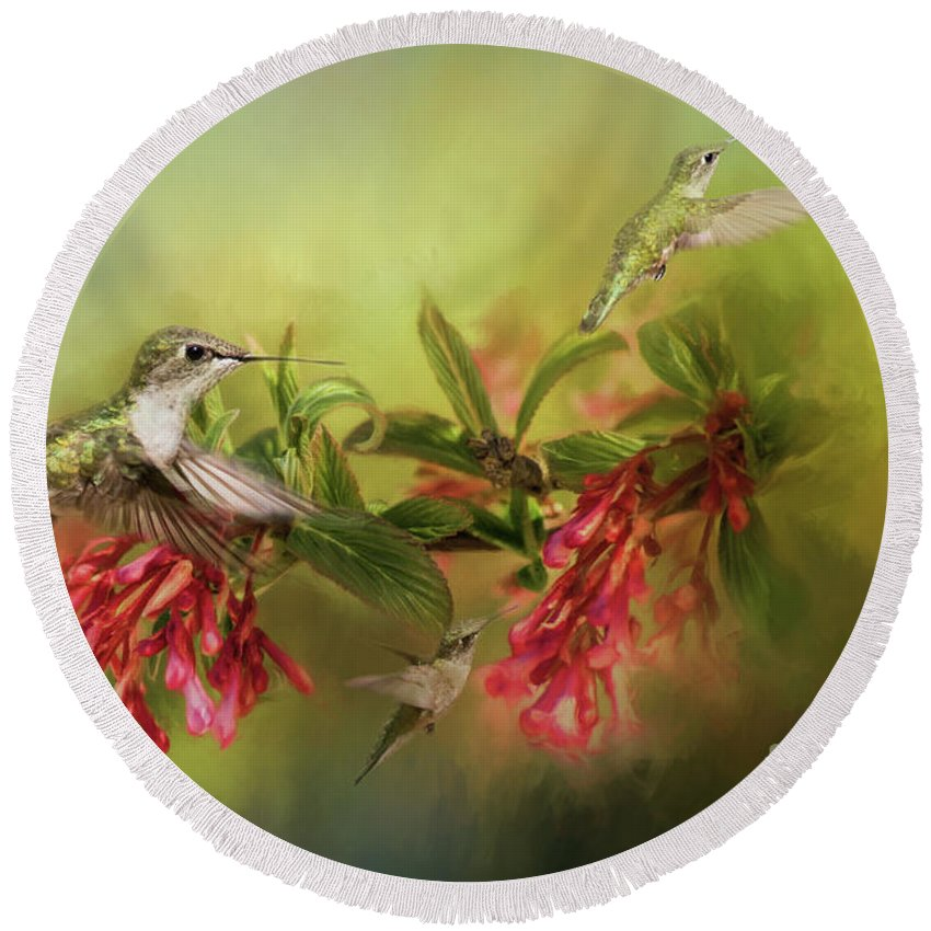 Humming Birds Round Beach Towel featuring the photograph Hummingbird Paradise by Pam Holdsworth