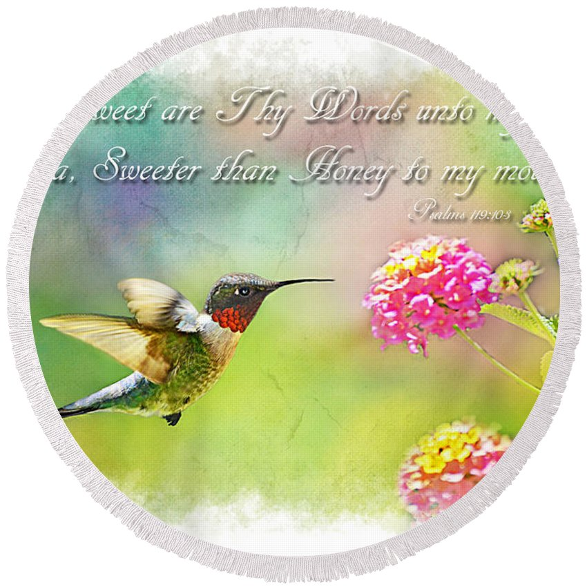 Nature Round Beach Towel featuring the photograph Hummingbird With Bible Verse by Debbie Portwood