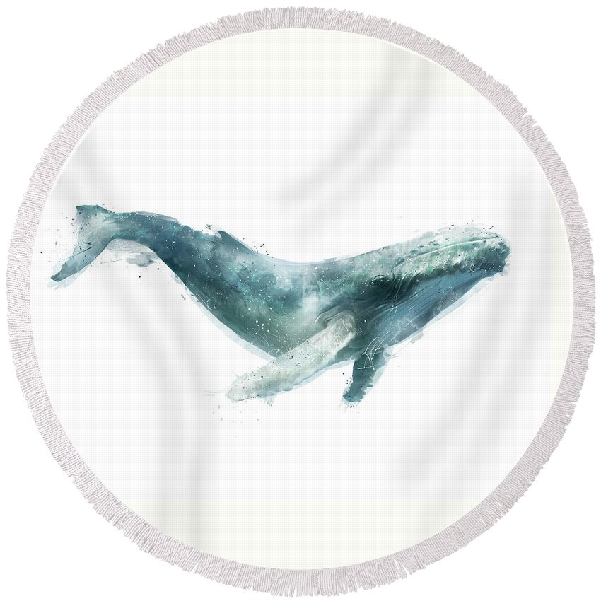 Humpback Round Beach Towel featuring the painting Humpback Whale from Whales Chart by Amy Hamilton