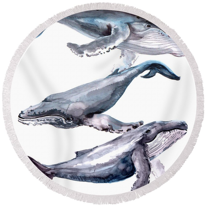 Humpback Whale Round Beach Towel featuring the painting Humpback Whales by Suren Nersisyan