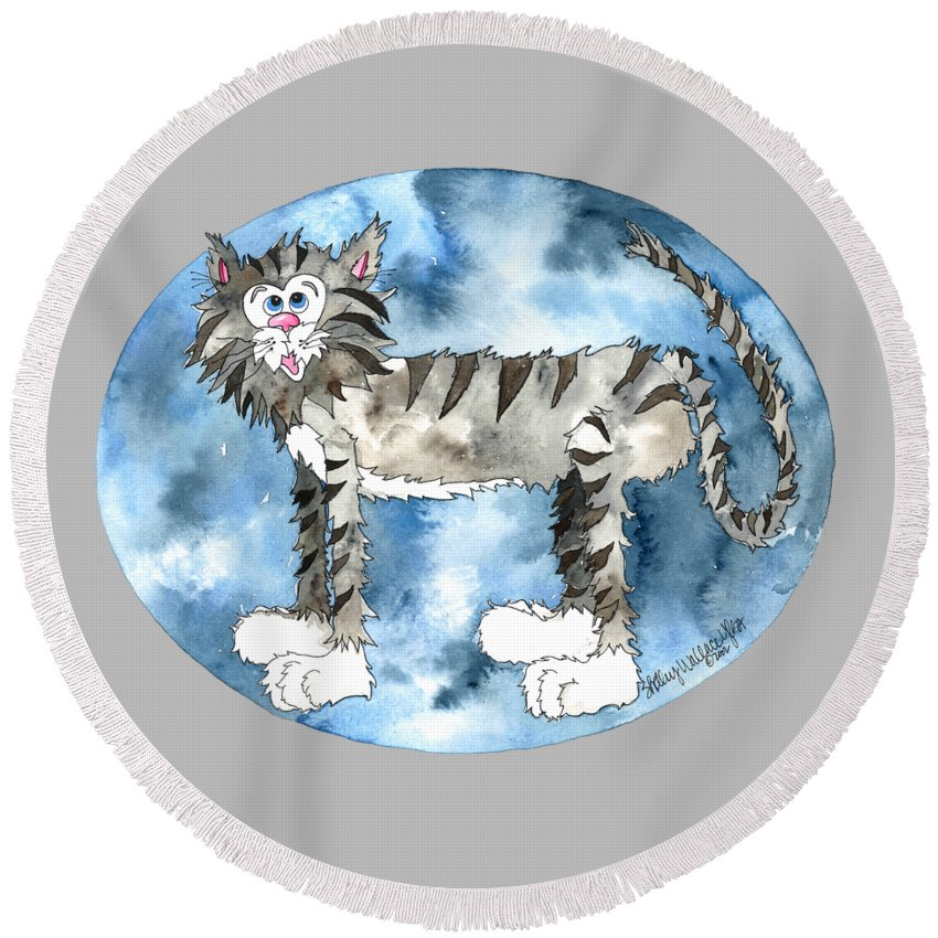 Cat Round Beach Towel featuring the painting Humphrey by Shelley Wallace Ylst