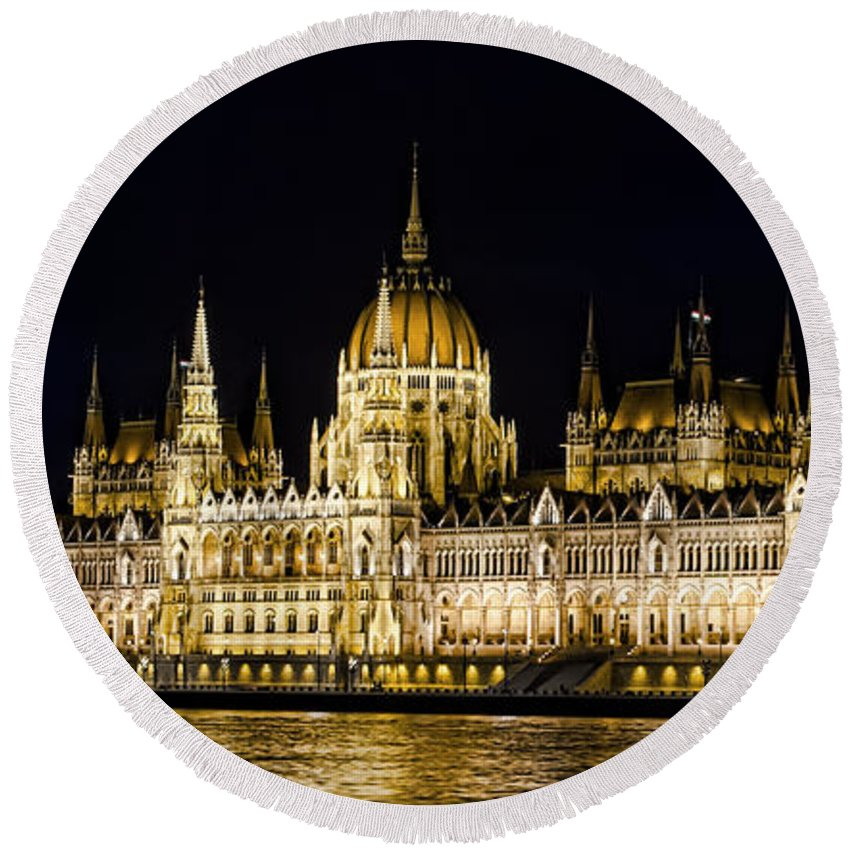 Hungary Round Beach Towel featuring the photograph Hungarian Parliament by Heather Applegate