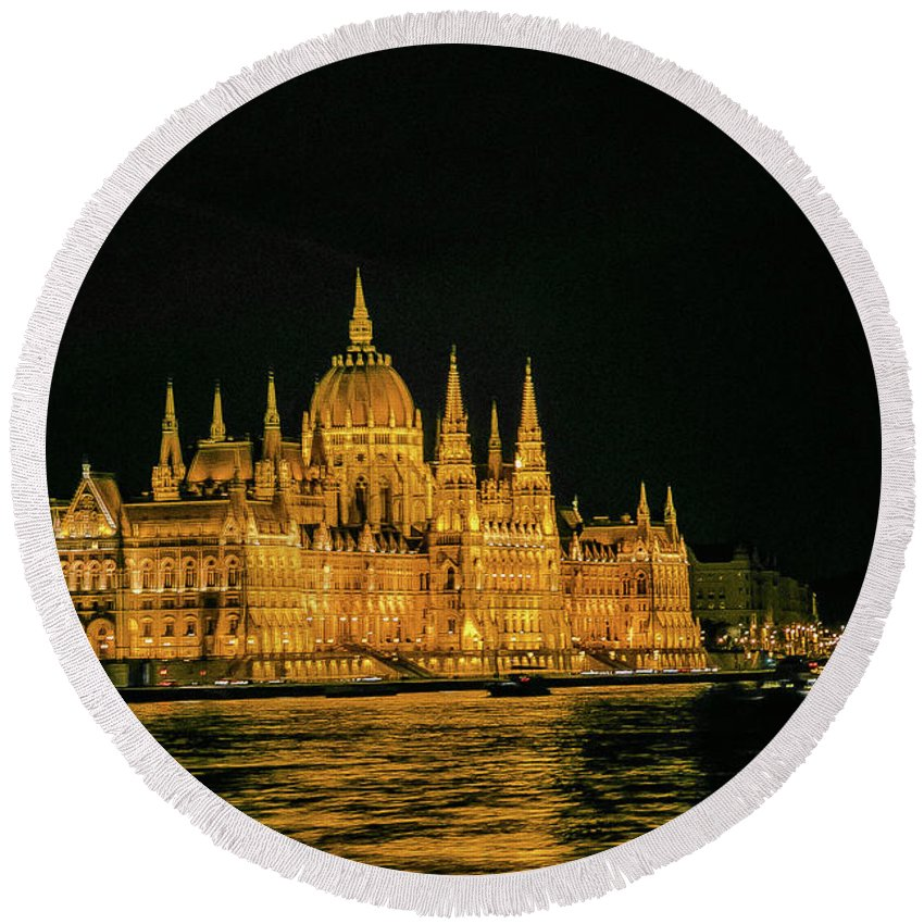Budapest Round Beach Towel featuring the photograph Hungarian Parliament by Lisa Lemmons-Powers