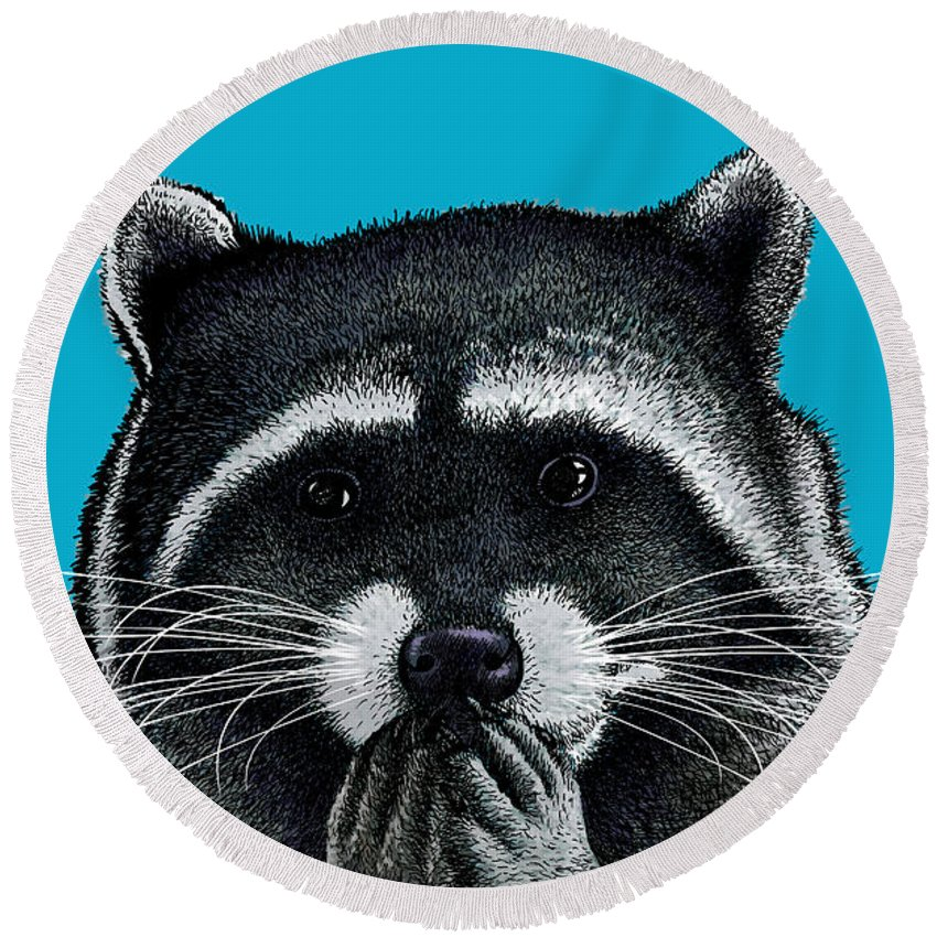 Portrait Round Beach Towel featuring the digital art Hungry Raccoon by Carl Conway