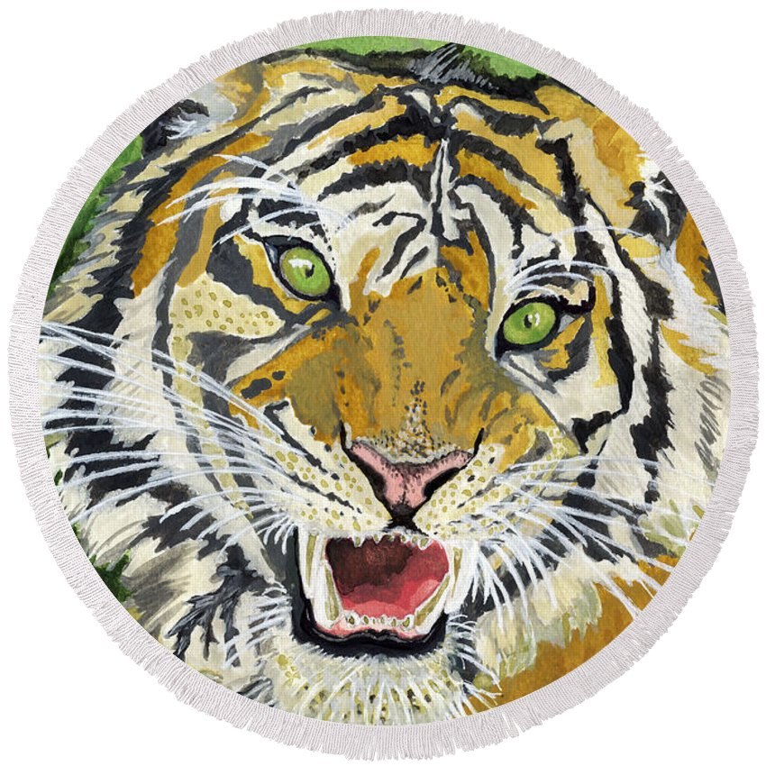 Tiger Round Beach Towel featuring the painting Hungry Tiger by Alban Dizdari