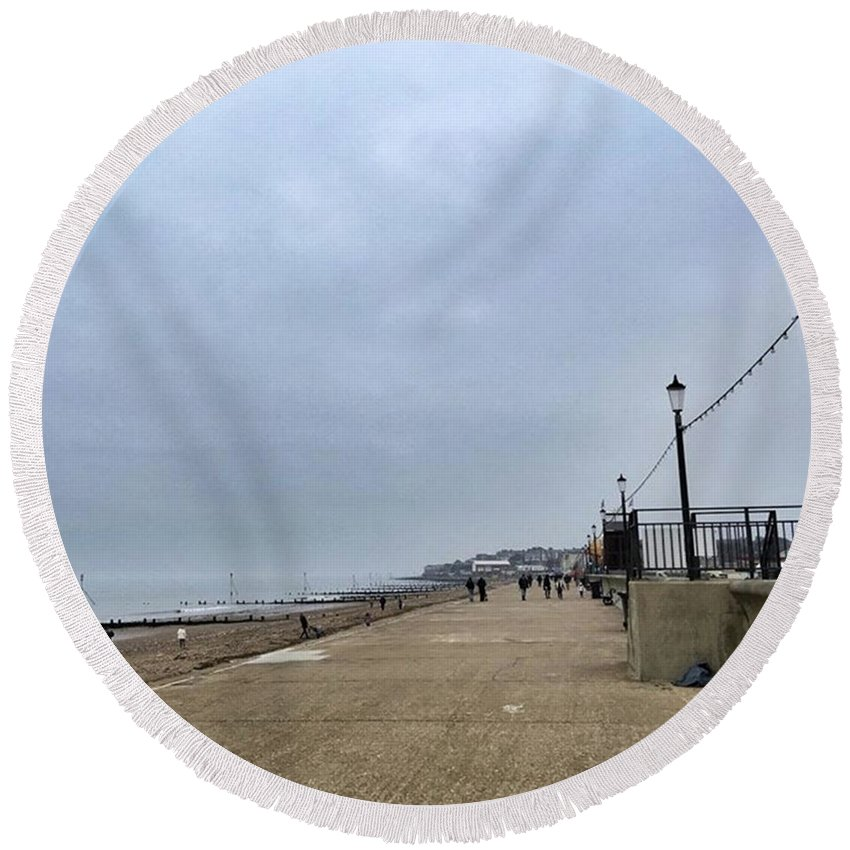 Beautiful Round Beach Towel featuring the photograph Hunstanton At 4pm Yesterday As The by John Edwards