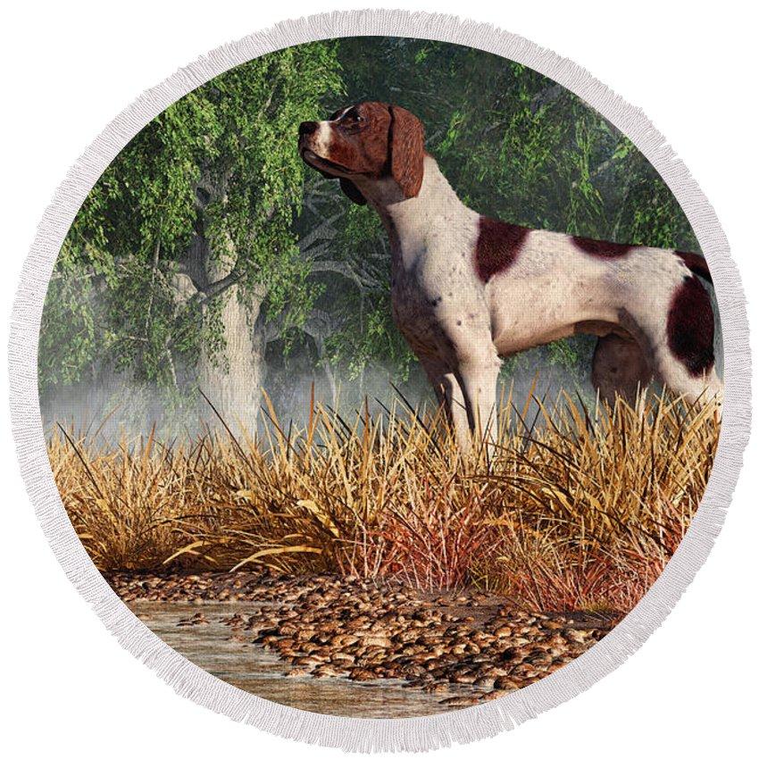 Hunting Dog By A River Round Beach Towel featuring the digital art Hunting Dog By A River by Daniel Eskridge