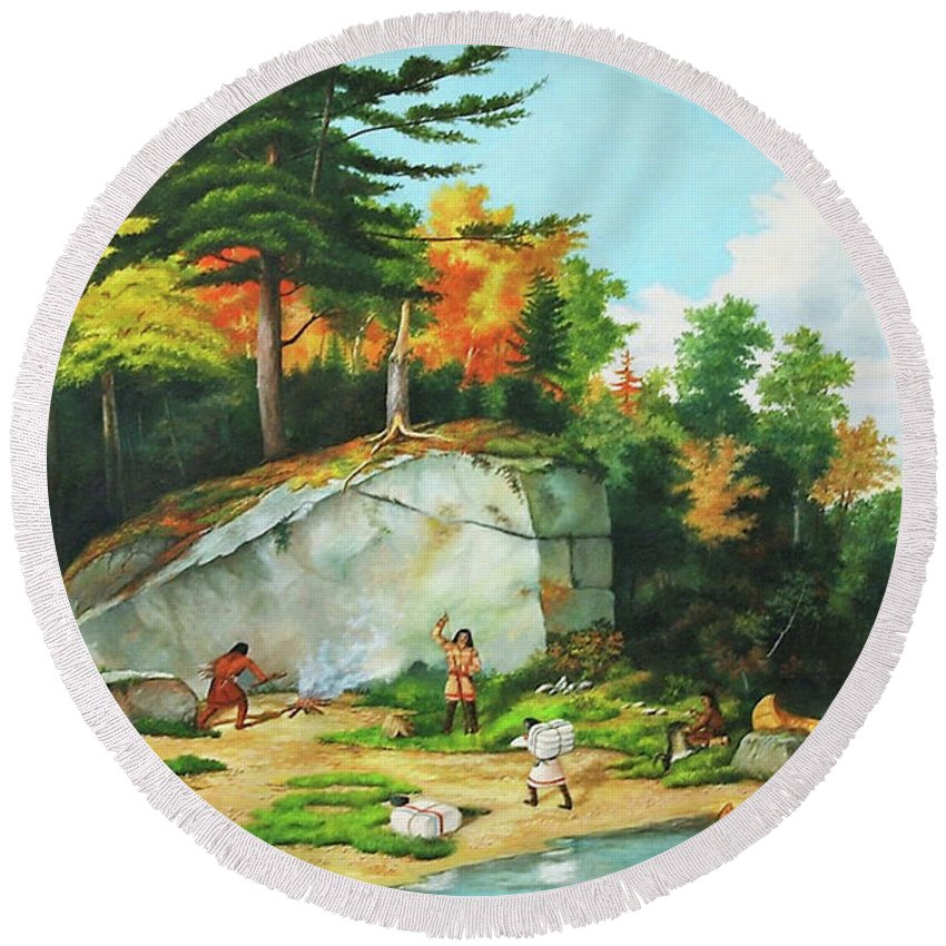 Landscape Round Beach Towel featuring the painting Huron's At A Portage Preparing To Camp by Zohrab Kemkemian