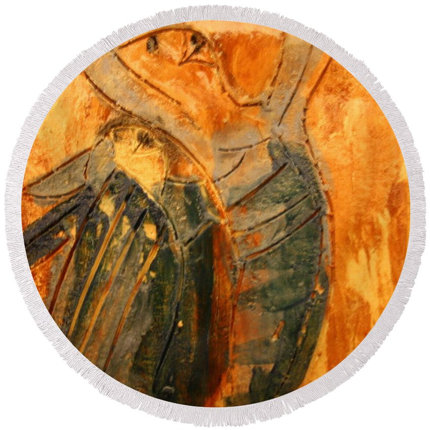 Jesus Round Beach Towel featuring the ceramic art Hurrah - Tile by Gloria Ssali