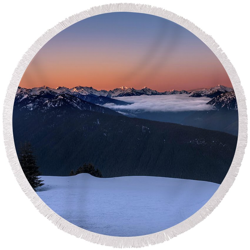 Olympic National Park Round Beach Towel featuring the photograph Hurricane Ridge At Sunrise In Olympic National Park Washington by Brandon Alms