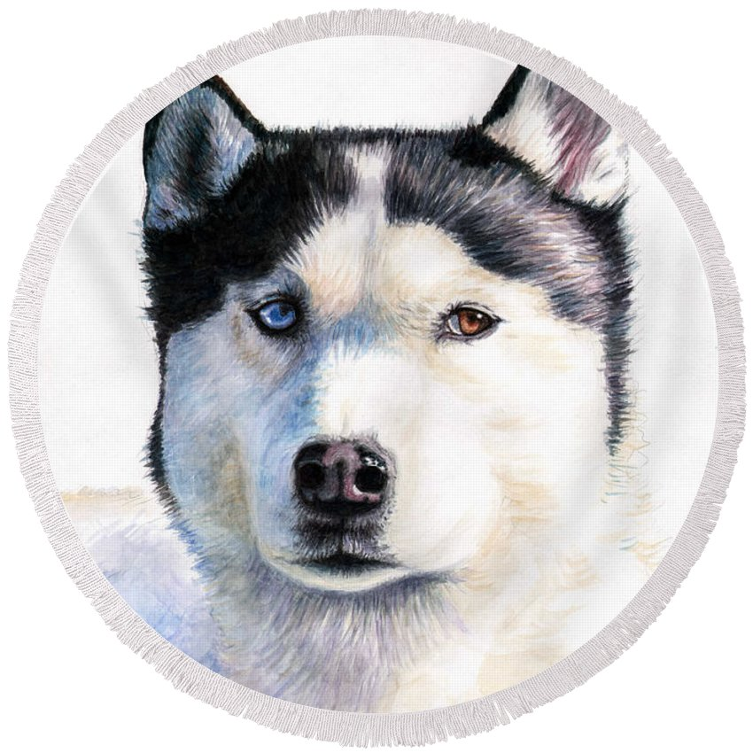 Dog Round Beach Towel featuring the painting Husky Blue by Nicole Zeug