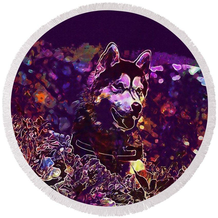Husky Round Beach Towel featuring the digital art Husky Dog Pet Canine Purebred by PixBreak Art
